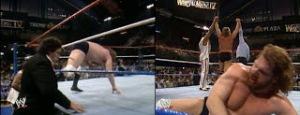 WWE-WWF_Wrestlemania-IV-1988_Jim-Hacksaw-Dugan_TheMillionDollarMan-Ted-DiBiase_Andre-TheGiant