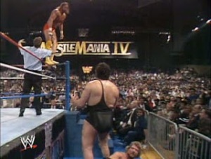 WWE-WWF_Wrestlemania-IV-1988_Randy-MachoMan_Savage_vs_TheMillionDollarMan-Ted-Dibiase_Andre-like-a-wall