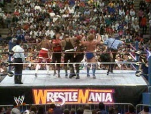 WWE-WWF_Wrestlemania-VIII_The-Nasty-Boys_the-Mountie_The-Repo-Man_vs_Jim-Dugan_Big-Boss-Man_Virgil_Sgt-Slaughter_multi-cross-body-attack