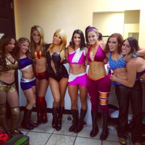 Sasha Banks, Alexa Bliss, Kendall Skye, Rosa Mendes, Veronica Lane, Bayley, Becky Lynch & Charlotte