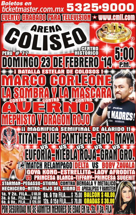 CMLL ARENA COLISEO 23 febrero