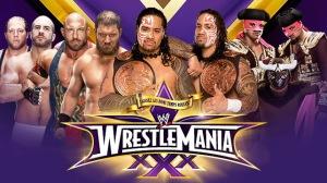 WWE WrestleMania 30 - WWE WrestleMania XXX - Tag Team Fatal 4 Way Championship Match - The Real Americans VS Rybaxel VS The Usos VS Los Matadores