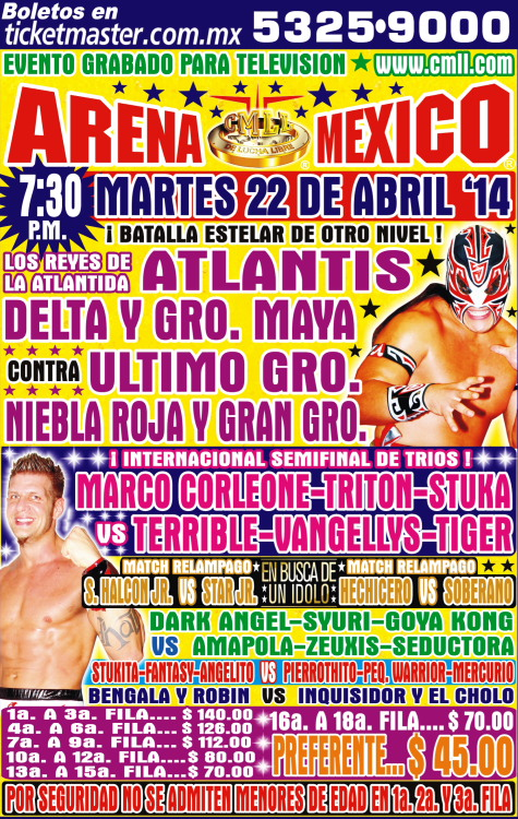cmll 22 abril arena mexico