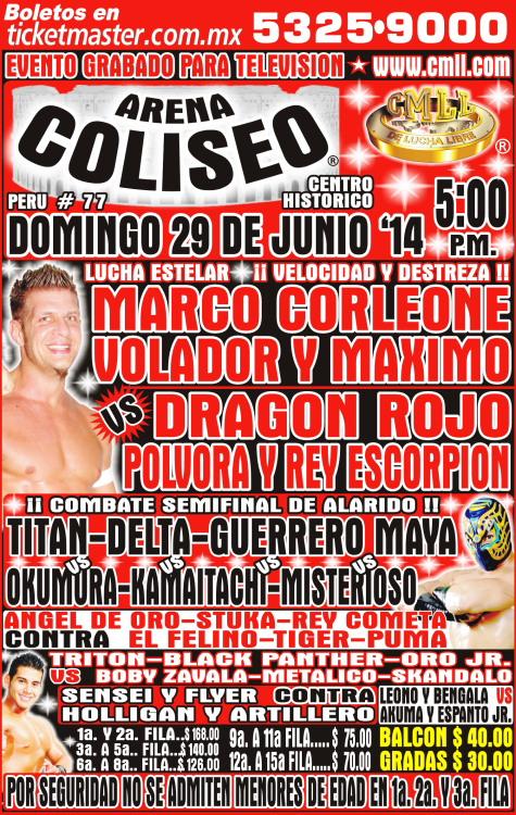 CMLL 29 JUNIO ARENA COLISEO