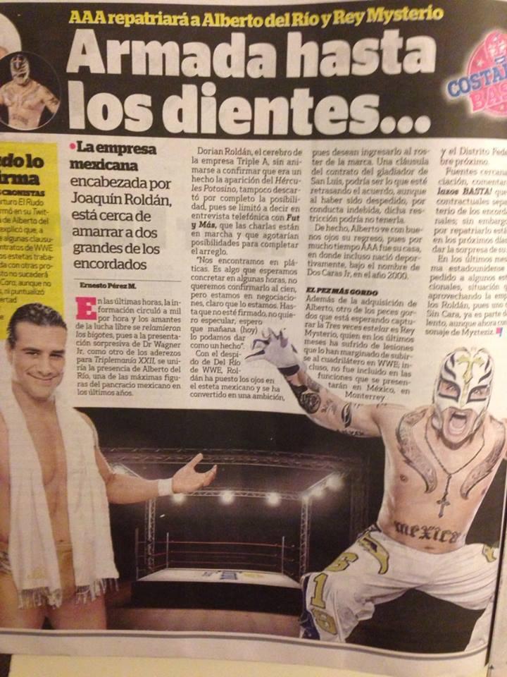 Páginas interiores de la prensa mexicana donde se analiza la llegada de talentos de WWE a Triple A