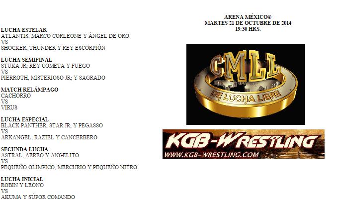 Cartelera CMLL 21 de Octubre